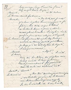 Manuscrit autographe / Dialogue galant: Alfred de Musset