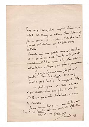 Lettre autographe signée (1879) au sujet de: Gustave Flaubert