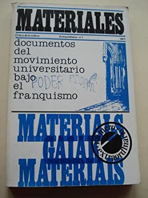 MATERIALES. Crítica de la cultura. Extraordinario nº 1: Documentos del movimiento universitario b...
