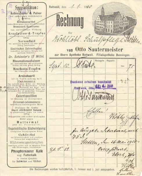 Rechnung Von Otto Sautermeister Zur Obern Apotheke Rottweil