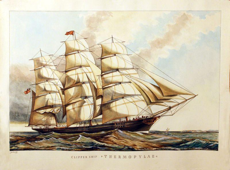 "Clipper ship ""Thermopylae"" (Nachdruck M. Reillys Farblithographie: Faksimile"