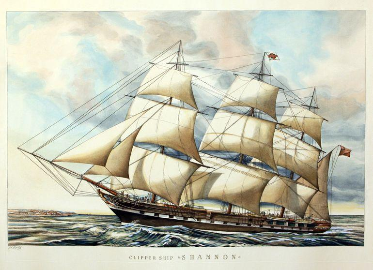 "Clipper ship ""Shannon"" (Nachdruck M. Reillys Farblithographie: Faksimile"