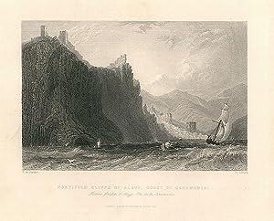 Fortified cliffs of Alaya, coast of Caramania. Rochers fortifiés, d'Alaya, Cote de la ...