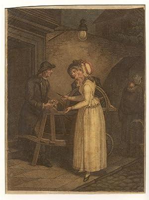 Herumziehender Scherenschleifer mit Kundinnen).: Scherenschleifer -