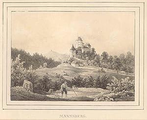 Mannsberg. Ansicht der Burg mit einem Wanderer im Vordergrund.: St. Georgen am Längssee