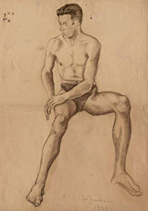 sitzender Männerakt].: Paul Hofmann