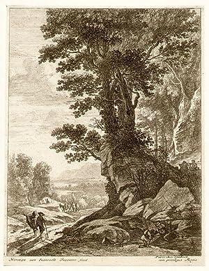 Wanderer und Baumgruppe ).: van Swanevelt, Herman (*1600 - 1655+)