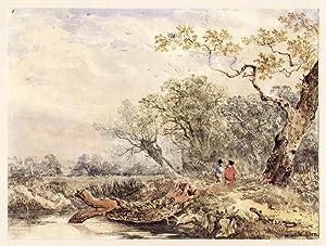 Englische Landschaft mit zwei Spaziergängern ).: Allen, Joseph William (*1803 - 1852+)