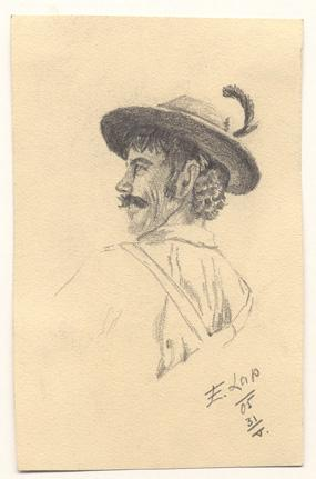 Studie eines Bauernburschen.: Lap, Engelbert (1886 - 1970)