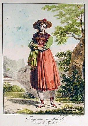 Paysanne d' Audorf, dans le Tyrol. Lithog. de C. de Lasteyrie.: Tirol - Trachten
