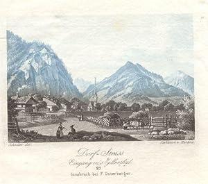 Dorf-Strass Eingang ins Zillerthal. # 25 Innsbruck bei F. Unterberger: Strass im Zillertal