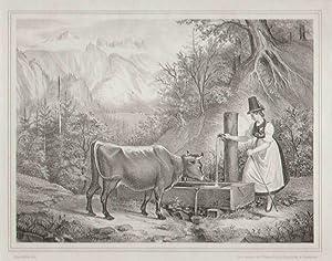 Tiroler Bauernmädchen mit Kuh an der Tränke ). Lith. Institut der Wagner'schen ...