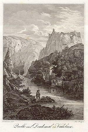 Quelle und Denkmal zu Vaucluse.: Vaucluse -