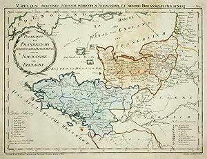 Postkarte von Frankreichs Nordwestlichen Departements oder der Normandie und Bretagne. Mappa, quae ...