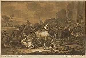 Eine Herde von Pferden in Bewegung vor der Stadtmauer.: Pferdeherde -
