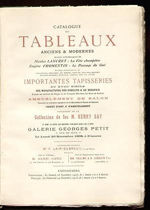 Catalogue des Tableaux anciens & modernes. .: Katalog -