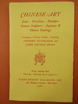 Chinese Art Jades, Porcelains, Furniture, Siamese Sculptures, Japanese and Chinese Paintings ...