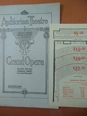 Chicago Grand Opera Company Program Season 1912-1913 (Prices and seating chart laid-in): No Author