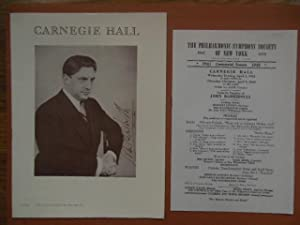 Carnegie Hall Program; The Philharmonic Symphony Society: Barbirolli, John