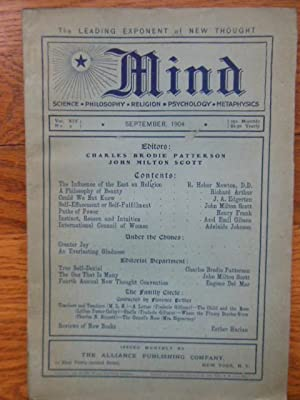 Mind Magazine; The Leading Exponent of New Thought September, 1904