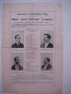 Summer Campaign 1894 Ohio Anti-Saloon League Brochure