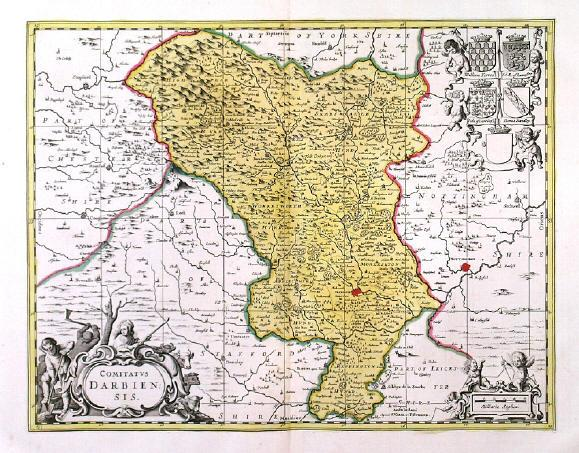 'COMITATUS DARBIENSIS'. Map of Derbyshire with cartouche, scale of miles and 5 coats of arms supported by cherubs. Published by Pieter Schenk and Ger 38x48cm. Cartouches and coats of arms uncoloured, the map in full original colour. Excellent condition.