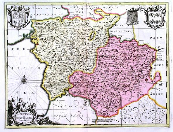 'MERVINIA ET MONTGOMERIA COMITATUS'. Map of Merioneth and Montgomeryshire in Wales with cartouche and three coats of arms. Published by Pieter Schenk 37x48cm. Cartouche and coats of arms uncoloured, the map in full original colour. Excellent condition.