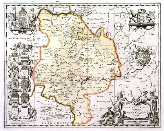 'HUNTINGDONENSIS COMITATUS HUNTINGTON SHIRE'. Map of Huntingdonshire with figuraive cartouche and 15 coats of arms. Published by Pieter Schenk and Ge 38x48cm. Cartouche and coats of arms uncoloured, the map in full original colour with some recent additions. Excellent condition.