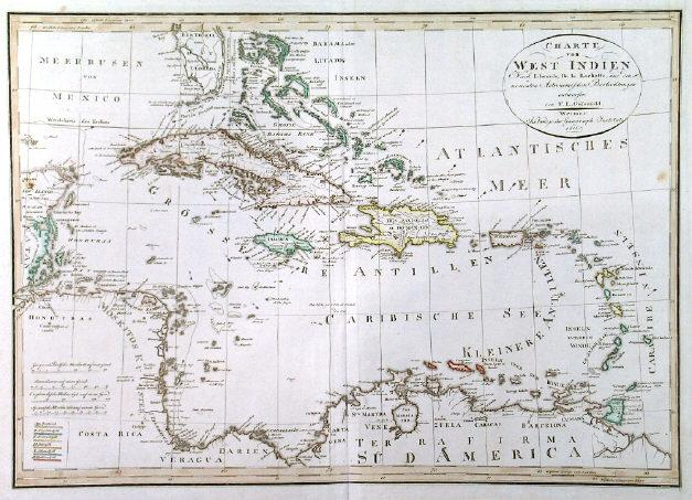 CHARTE VON WEST INDIEN. . Detailed map of ...