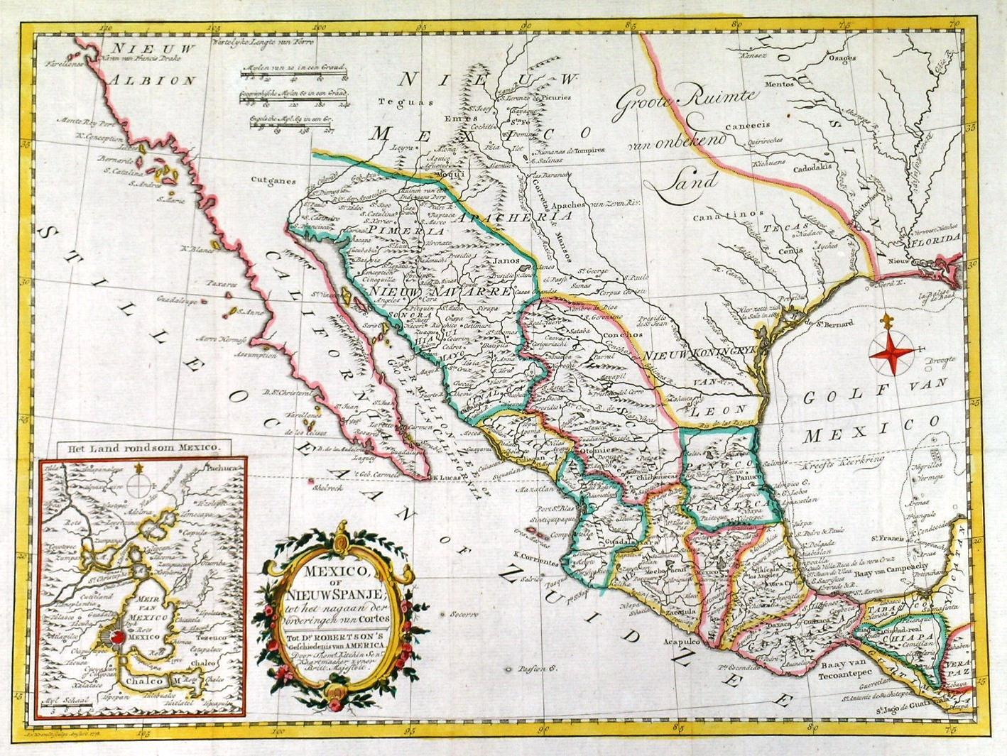 Mexico Of Nieuw Spanje Map Of Mexico The Southern States Of Texas And Louisiana Etc And California Showing Above Tecas A Groote Ruimte Van Onbekend Land Great Expanse Of Unknown