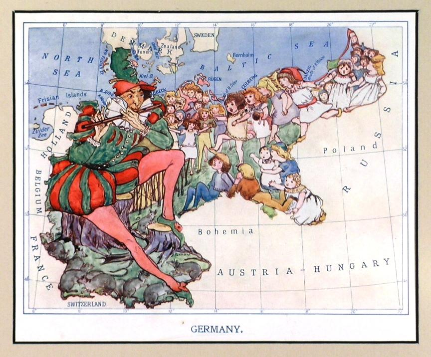 Cartoon Map Of Germany.Germany Caricature Map Of Germany Showing Children Following The