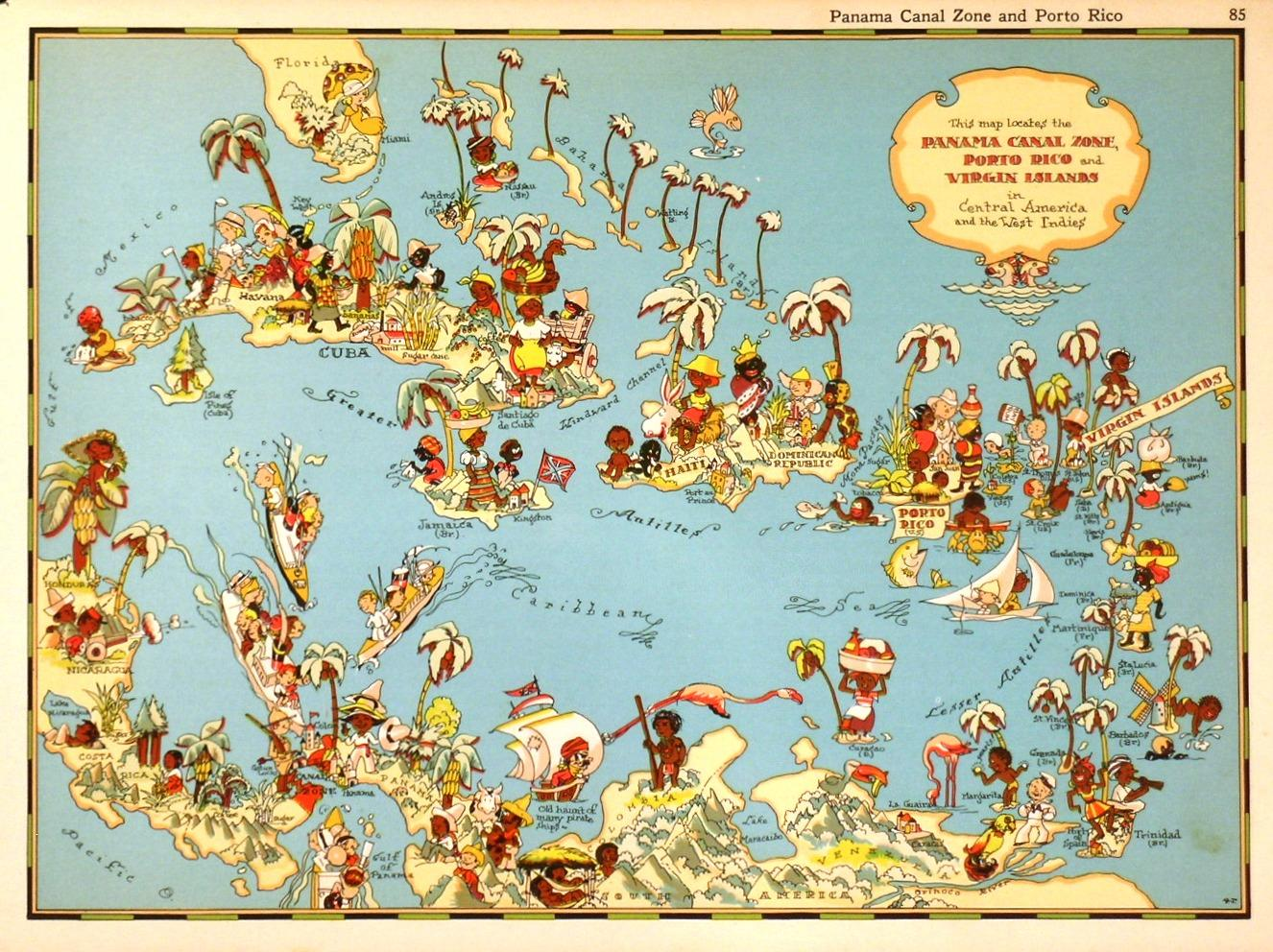 PANAMA C ZONE, PORTO RICO AND VIRGIN ISLANDS. . Curious map of ... on