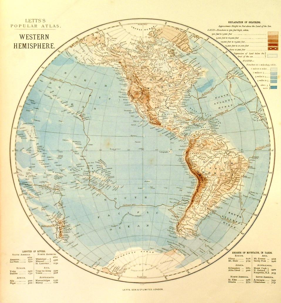 WESTERN HEMISPHERE & EASTERN HEMISPHERE . Two maps from Lett s ...