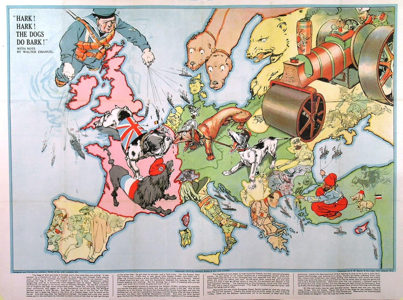'HARK! HARK! THE DOGS DO BARK!' Large political cartoon style folding map of Europe with notes by ...