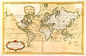 'CARTE REDUITE DU GLOBE TERRESTRE'. World on Mercator's projection.
