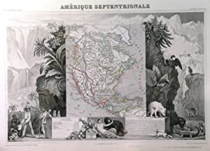 AMERIQUE SEPTENTRIONALE . Map of North America, showing Texas as a Republic. Very decorative pic...