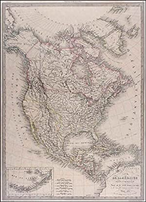 CARTE DE L AMÉRIQUE SEPTENTRIONALE . North and Central America with a small inset map of the Ale...