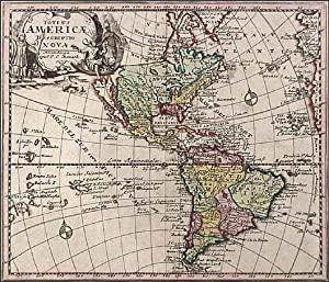 TOTIUS AMERICAE DESCRIPTIO NOVA . Map of the American hemisphere with figurative cartouche. Insu...