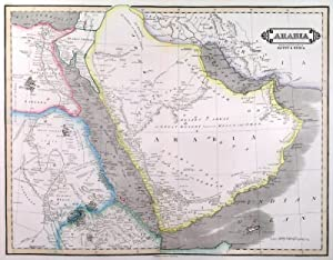 ARABIA . Map of Arabia with the adjacent countries of Egypt and Nubia.