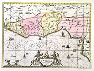 GUINEA . Decorative map of the western coast of Africa from Guinea to Nigeria. Published by Piet...