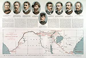 MR H. M. STANLEY S EXPLORATIONS IN THE DARK CONTINENT - MAP OF THE ROUTE AND A PORTRAIT GROUP OF...