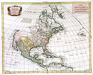 CARTE DE L AMERIQUE SEPTENTRIONALE . Map of North America with cartouche and scale of miles.
