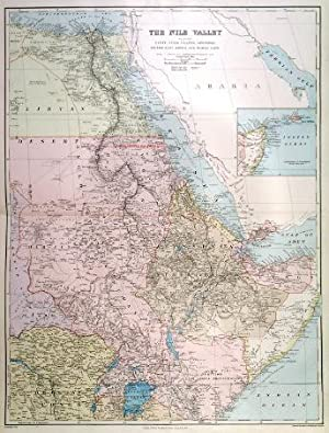 THE NILE VALLEY . Large map of Egypt and the Nile, Nubia, Uganda, Abyssinia, British East Africa,...