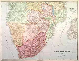 BRITISH SOUTH AFRICA . Detailed map of southern Africa, reaching from Angola, Zambia and Mozambi...
