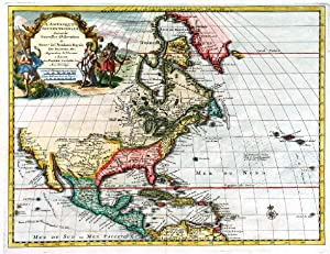 L AMERIQUE SEPTENTRIONALE, SUIVANT LES NOUVELLES OBSERVATIONS . Map of North America with pictor...