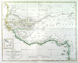 CHARTE VON SENEGAMBIEN, NIGRITIEN UND GUINEA. . Map of the African west coast with the Gulf of G...