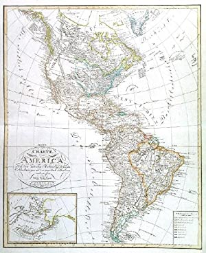 CHARTE VON AMERICA. . Map of North and South America, with inset map of Alaska.