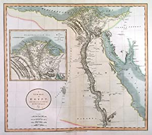A NEW MAP OF EGYPT. . Map of Egypt, reaching south to Assuan, with large inset map of the Nile d...