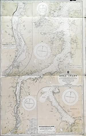 RUSSIAN LAPLAND - KOLA INLET . Large sea chart of the Kola inlet, leading from the Barents Sea t...