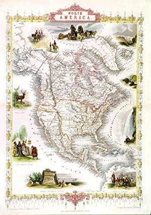 'NORTH AMERICA'. Map of North America with several vignettes showing wildlife, natives, settlers ...